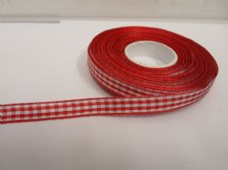 Red 2 metres or full roll x 15mm Gingham Ribbon Double Sided check UK